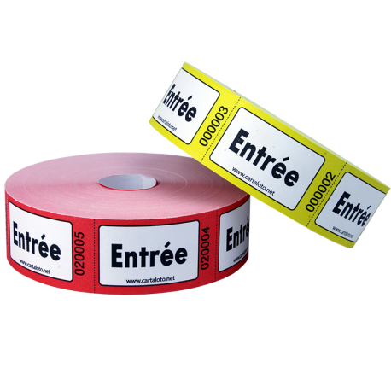 """Rouleaux de 1000 tickets """"Entrée"""""""