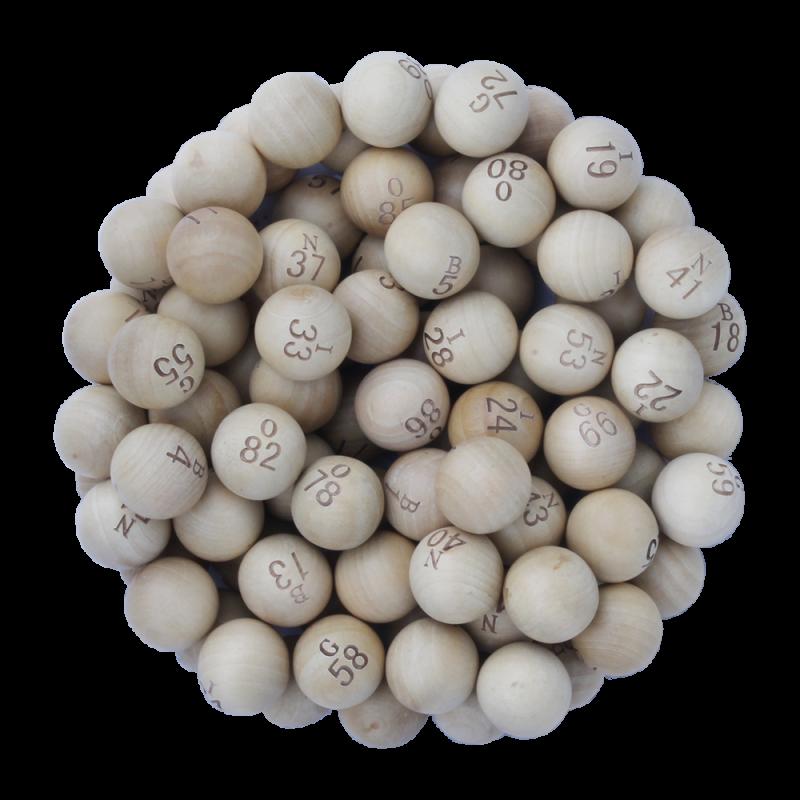 90 boules loto 22mm en bois